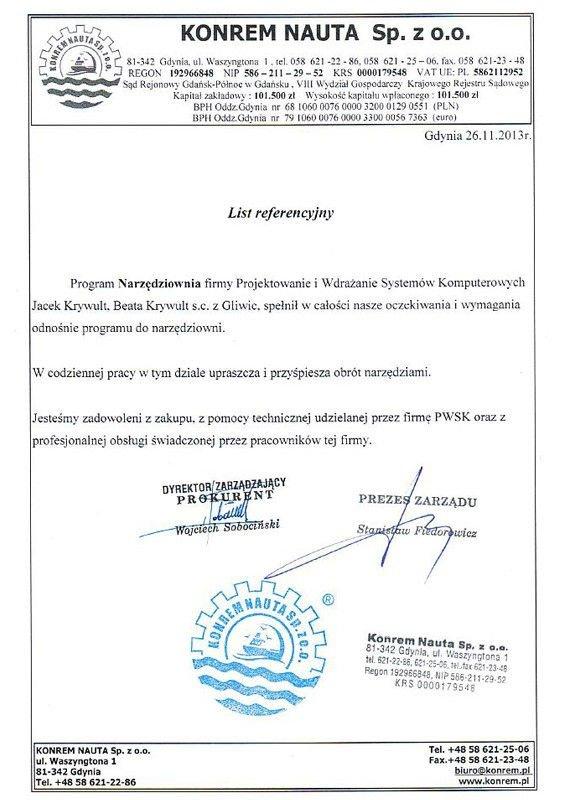 Konrem Nauta referencje Program Narzędziownia