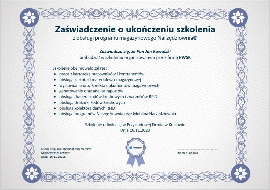 Certyfikat ukończenia szkolenia z obsługi Narzędziowni