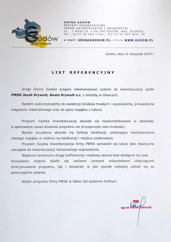 Gmina Godów - referencje dla firmy PWKS - Szybka Inwentaryzacja