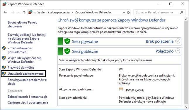 Ustawienia zapory Windows Defender