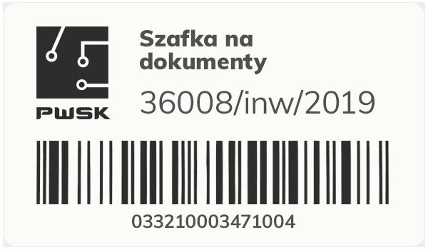 Etykieta inwentaryzacyjna z kodem kreskowym