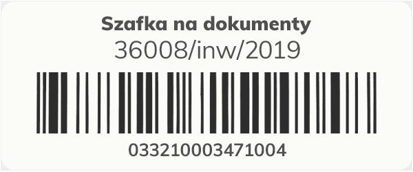 Etykieta z kodem kreskowym do oznaczenia majątki i inwentaryzacji