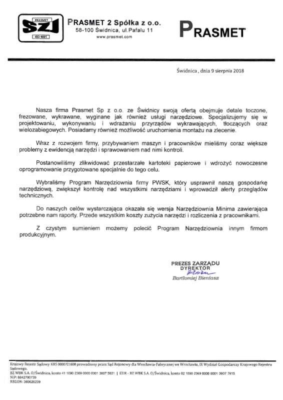 Referencje firmy Prasmet dla PWSK