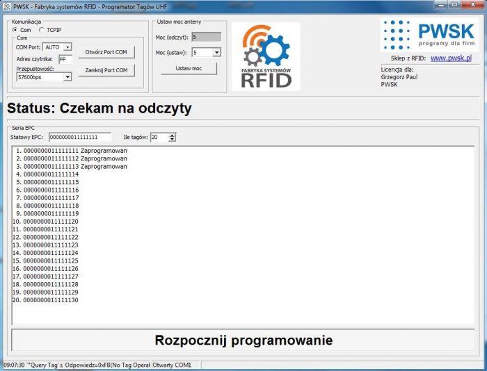 Programator tagów RFID UHF