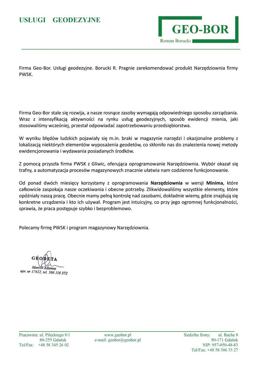 List referencyjny od Geo Bor dla PWSK