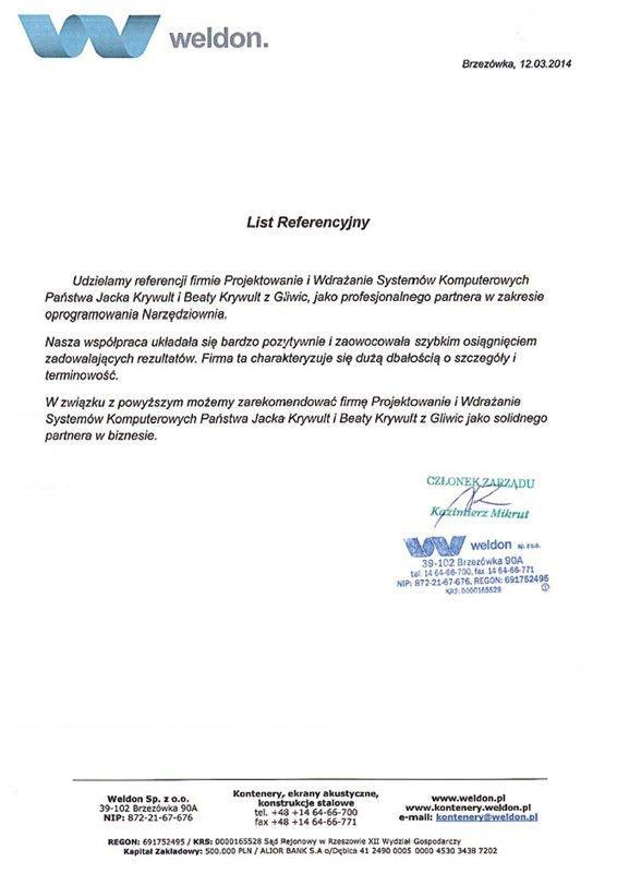 referencje firma weldon, program narzędziownia