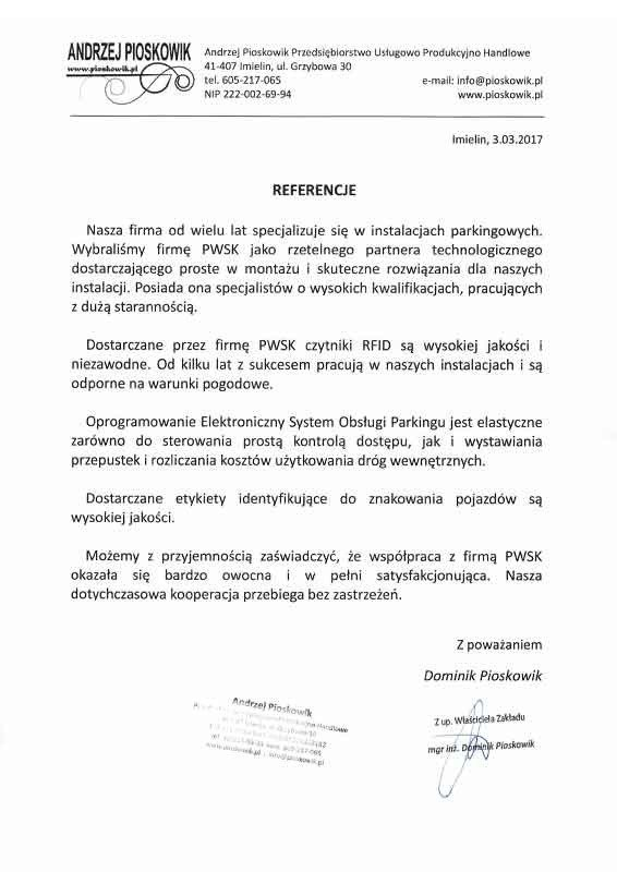 system parkingowy rfid - Pioskowik - Referencje