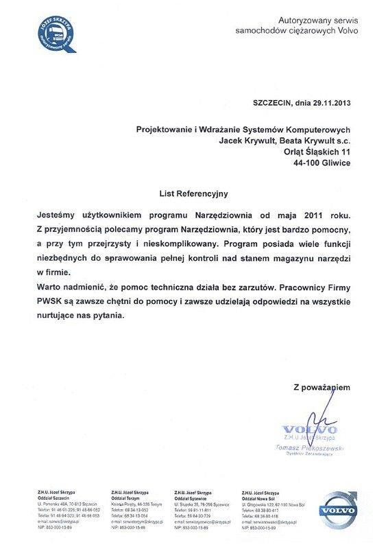 volvo referencje Program Narzędziownia