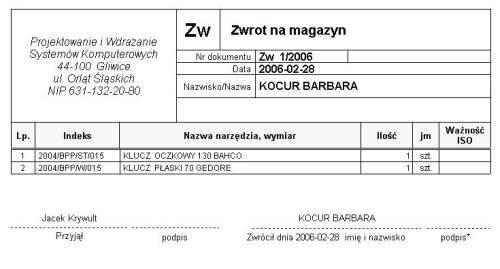 Zwrot wewnętrzny - wzór dokumentu w Programie Magazynowym PWSK