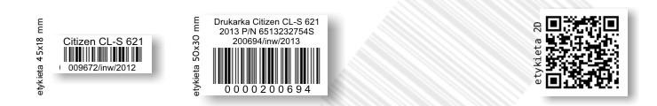 Etykiety do oznaczania środków trwałych, znakowanie środków trwałych