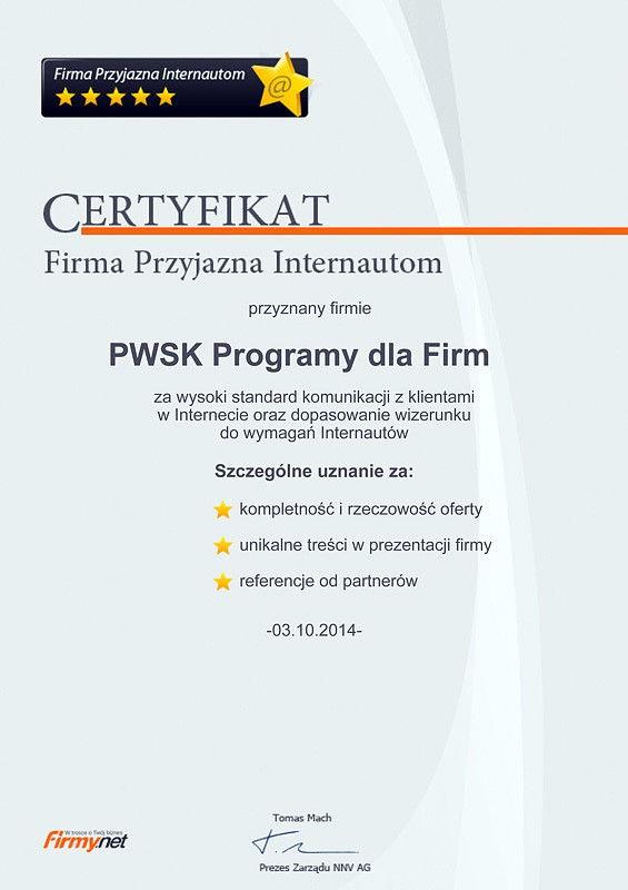Tytuł Firma Przyjazna Internautom dla PWSK