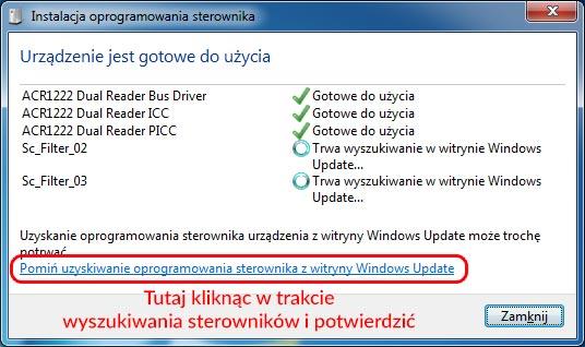 Anulowanie uzyskiwania sterownika z witryny Windows Update