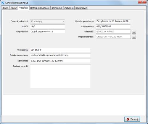 program narzędziownia - moduł przeglądy techniczne